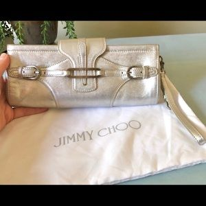 50%SALE! Jimmy Choo Tulita silver metallic clutch